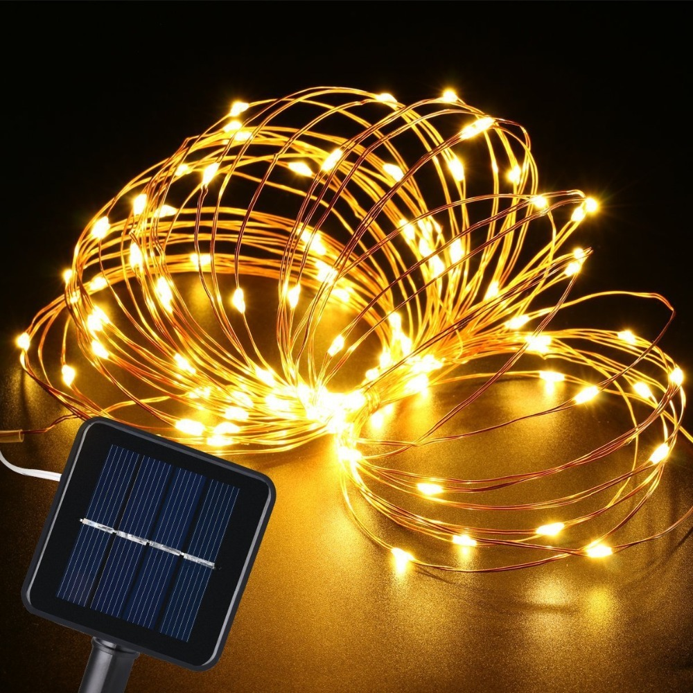 10m 100leds Copper Wire Fairy LED String Lights Solar Powered LED Christmas Garland Light Outdoor Waterproof String Lamps