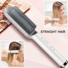 Профессиональный электрический выпрямитель для волос, расческа с подогревом, выпрямляющие гребни, мужские волосы для бороды, прямые и вьющ...