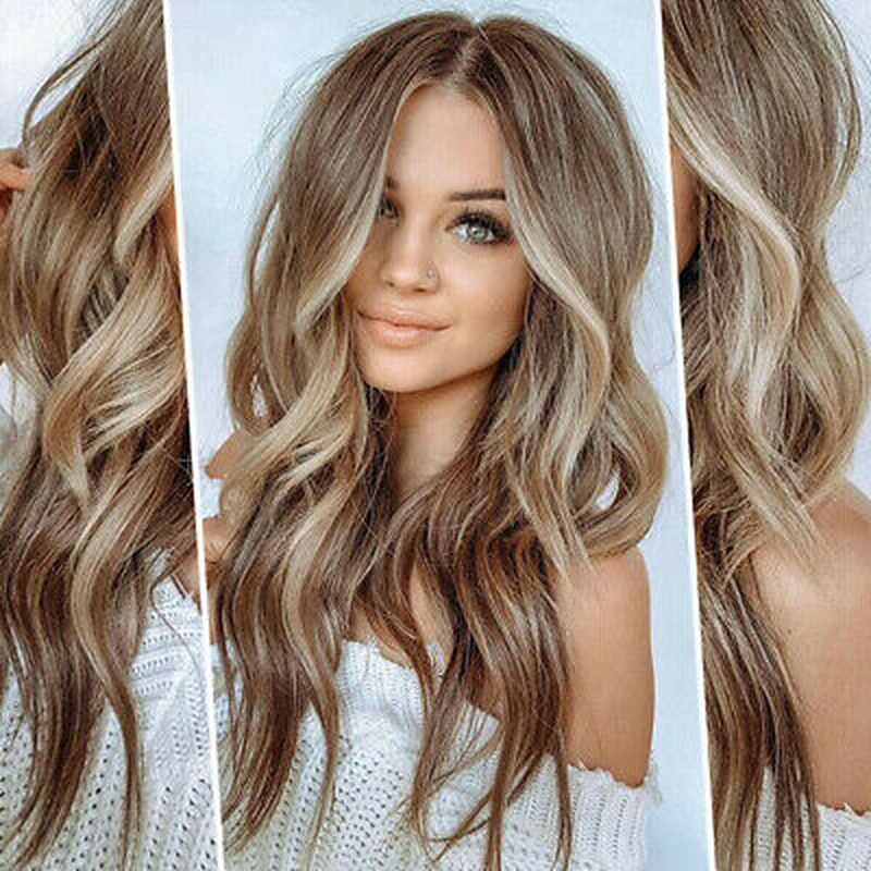 WHIMSICAL W Long Curly Wigs For Women Long Curly Wigs Brown Gold Blonde Middle Part Heat Resistant Hair Synthetic Wig