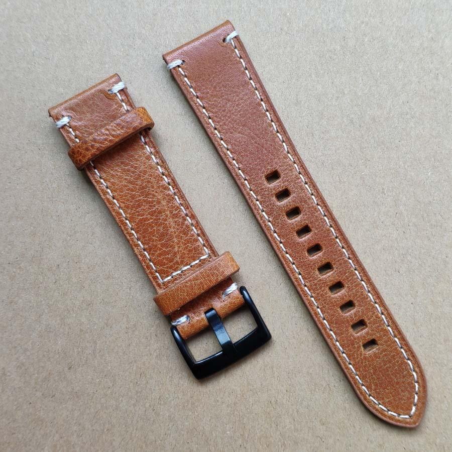 Genuine Leather Watch Band Strap 18mm 19mm 20mm 21mm 22mm 24mm Black Dark Brown Vintage Watchbands Belt Silver Black Buckle