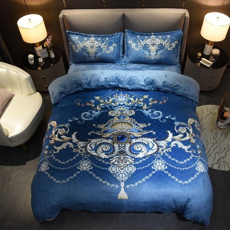 Luxury Flowers Diamond Printed Duvet Cover Set King Queen Size 4Pcs Fleece Warm Ultra Soft Bedding Set Bed Sheet Set Pillowcase