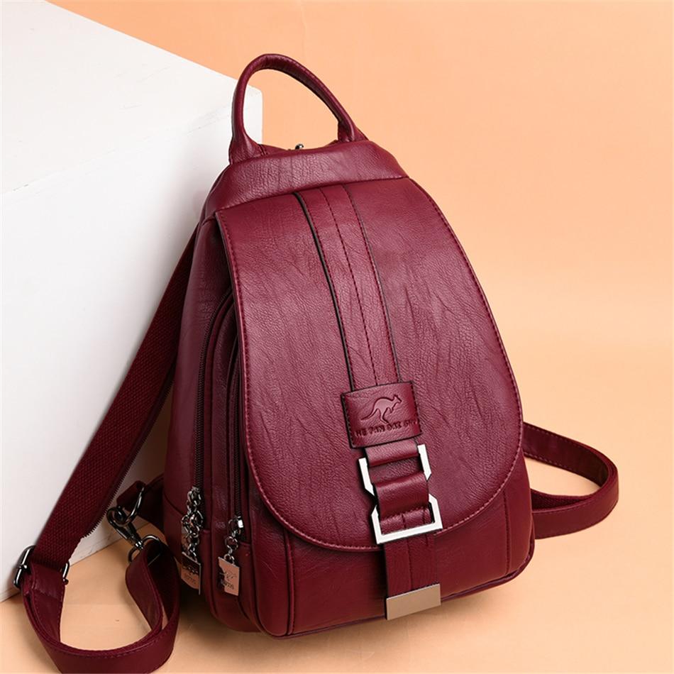 Hot Travel Backpack Women Soft Leather Shoulder Bags For Women 2020 Designer School Bags For Teenage Girls Mochilas Preppy Style