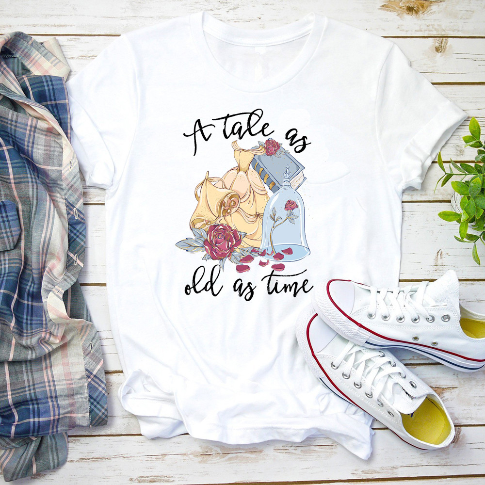 Tale As Old As Time Shirt Beauty And The Beast T Shirt Cute Graphic Tee Women Fashion Lovely Tops&tee