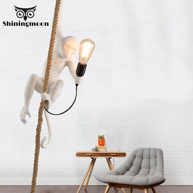 Nordic Monkey Lamp Resin Pendant Lights Retro LED E27 Kids Room Bedroom Cafe White Pendant Lamp Lighting Kitchen Light Fixtures