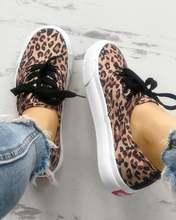 Модные леопардовые повседневные кроссовки на шнуровке; удобная
