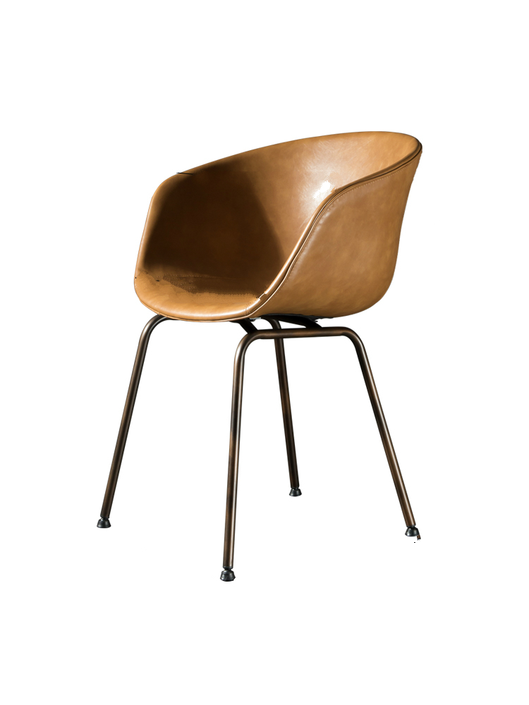 Nordic Leather Back Chair Simple North American New Light Luxury Chair European Iron Retro Cafe Chair Restaurant Chair