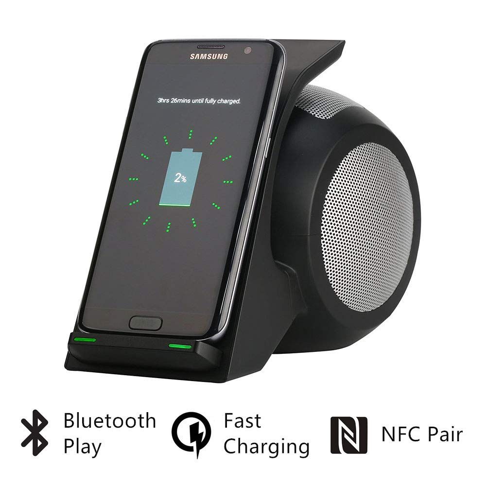 Bluetooth Speaker Fast Wireless Charger with Bluetooth Speaker Portable Stereo Surround Wireless Charger Stand Home Theater