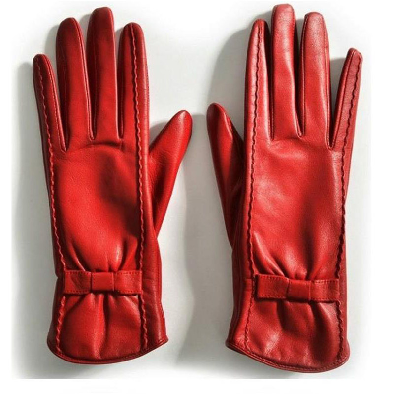 Women's Gloves Retro Butterfly Knot Autumn Winter Sheepskin Genuine Leather Ladies Gloves For Driving Touch Screen DZZP01