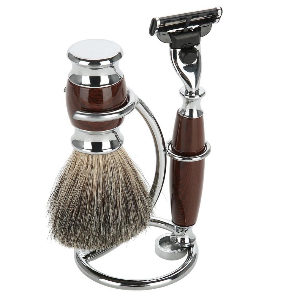 2 In1 Men Shaving Tool Holder Silver Compact Stainless Steel Curved Shaving Brush Manual Razor Stand Holders Beard Clean Shaver