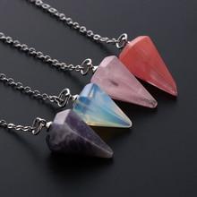 Natural Stone Quartz Stone Rock Crystal Hexagonal Pointed Reiki Chakra Pendant Pendulum Crystal Stone Pendant Necklace
