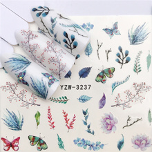 Fashion Stickers for Nails DIY Butterfly Succulents Aloe Water Sliders Manicure Decor