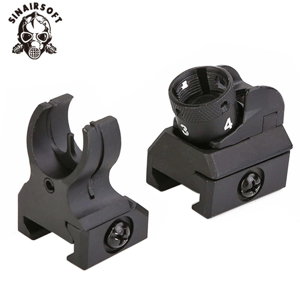HK 416 Style Picatinny Iron Sights Set Front And Rear Hk Diopter Paintball Shooting Hunting Airsoft Military Accessoeirs