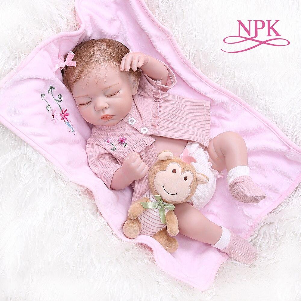 NPK 48 CENTÍMETROS renascido suave slicone bebê dormir de corpo inteiro Anatomicamente Correto Bebes Reborn Brinquedos Renascer Boneca Brinquedos Para As Crianças