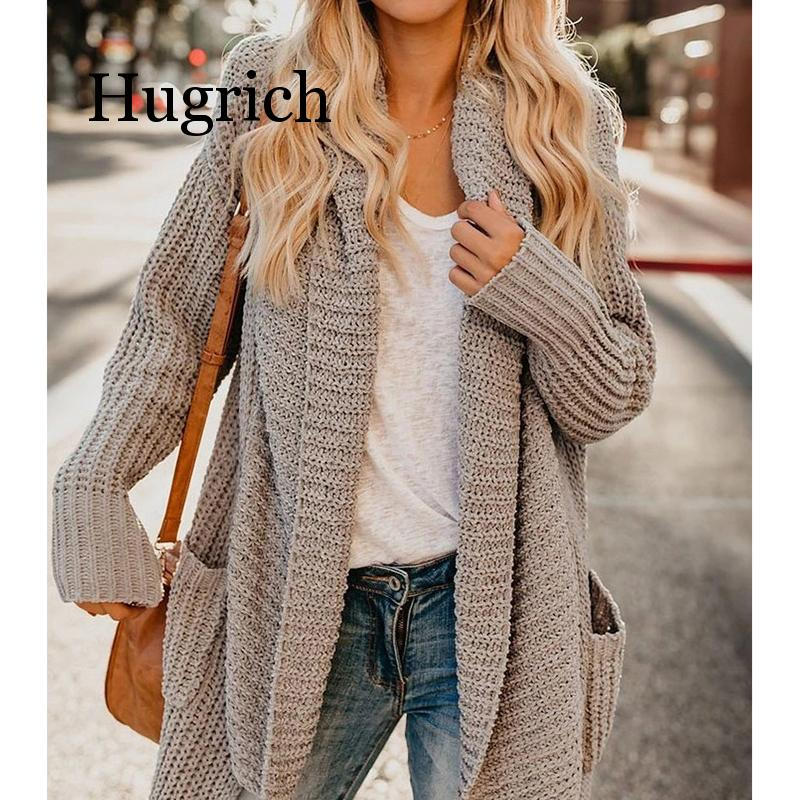 2020 New Autumn Winter Thick Coat Female Jacket Irregular Large Lapel Knit Cardigan Long Sleeve Solid Color Casual Ladi Coat
