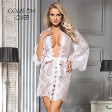 Comeonlover seksowna letnia bielizna szata przezroczysta kwiecista koronka suknie dla kobiet Plus rozmiar bielizna nocna 5XL 7XL Babydoll szata RE80528 tanie tanio CN (pochodzenie) POLIESTER Powyżej kolana mini summer 95 Polyester + 5 Spandex Floral WOMEN SZLAFROKI Trzy czwarte Cienki