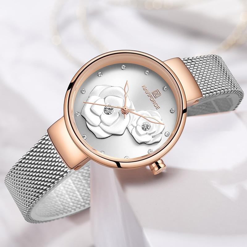 NAVIFORCE Watches Women Top Brand Luxury Steel Mesh Ladies Quartz Watch Beautiful Flower Charming Girl Clock Relogio Feminino