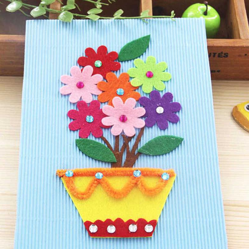 Merasa DIY Kerajinan untuk Anak-anak Merasa Kelopak Bunga Slice Bordiran Buku Tempel Dekorasi Rumah Jahit Aksesoris Anak DIY Paket