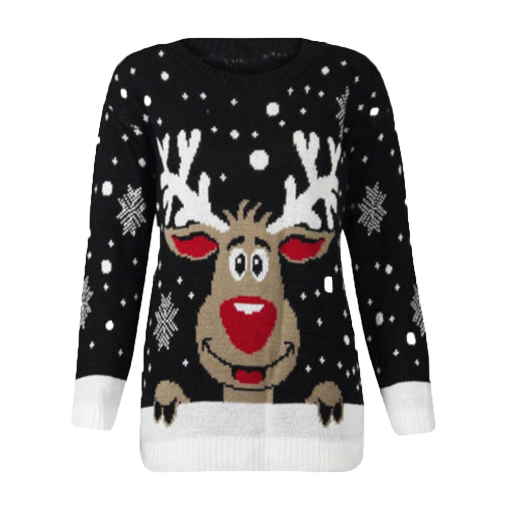 Winter Warm Womens Christmas Reindeer Printed O-Neck Long Sleeve  Tops Fashion Ladies Sweater New Design *t