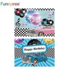 Funnytree fotografía photocall música lujoso coche Disco 90 fiesta negro blanco plaid telón de fondo foto de cámara de foto de fondo