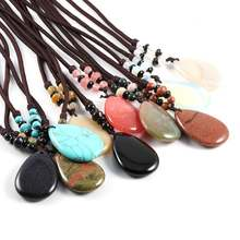 Оптовая продажа натуральный камень ожерелье с подвеской простое