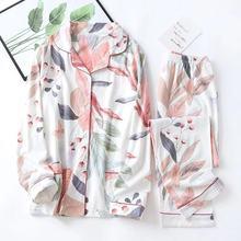 Daeyard 100% Cotton Ladies Pajamas Set Spring New Floral Pri