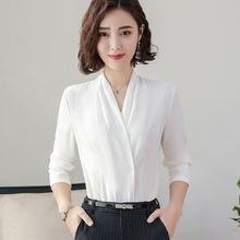 Женская Офисная шифоновая блузка черного и белого цвета в Корейском
