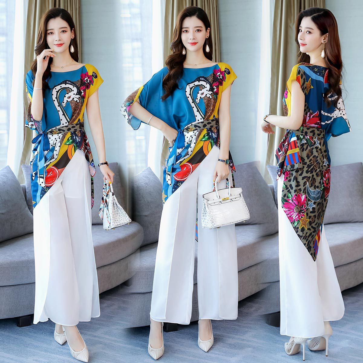 2019 Summer New Style Fashion Chiffon Loose Pants Set Goddess-Style Korean-style High-waisted Slimming Western Style Two-Piece W