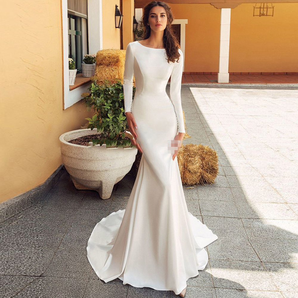 Booma Long Sleeve Soft Satin Wedding Dresses Mermaid 2020 Open Back Vestido De Noiva Long Train Bridal Gowns Plus Size