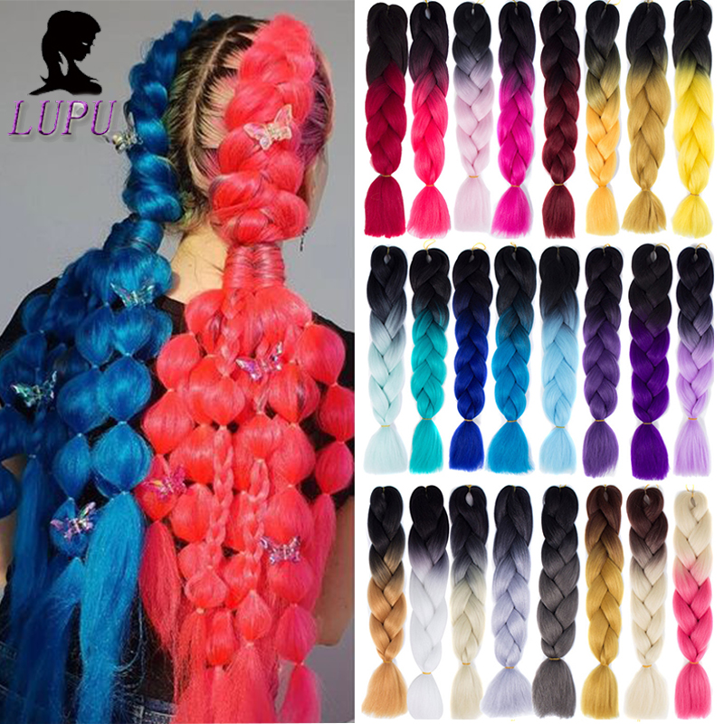 LUPU Synthetic Braiding Hair Long Ombre Jumbo Braid  Kanekalon Hair Extensions Rainbow Pink Blonde Purple Crochet Braid Hair