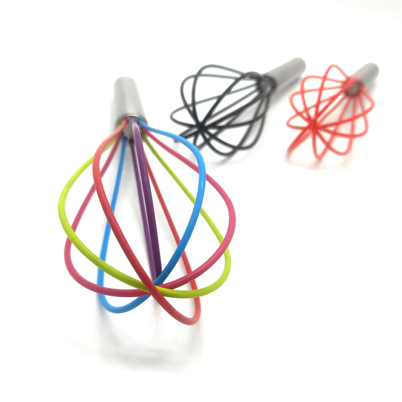 Color Manual Egg Beater Nylon Handle Silicone Milk Cream Butter Whisk Mixer Stiring Tool