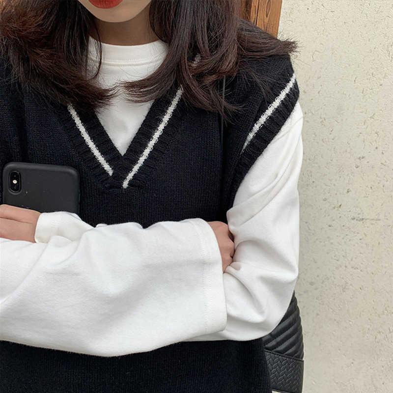 Vangull 여성 조끼 간단한 모든 일치 패치 워크 한국어 스타일 v-목 니트 스웨터 레저 학생 민소매 여성 빈티지 조끼