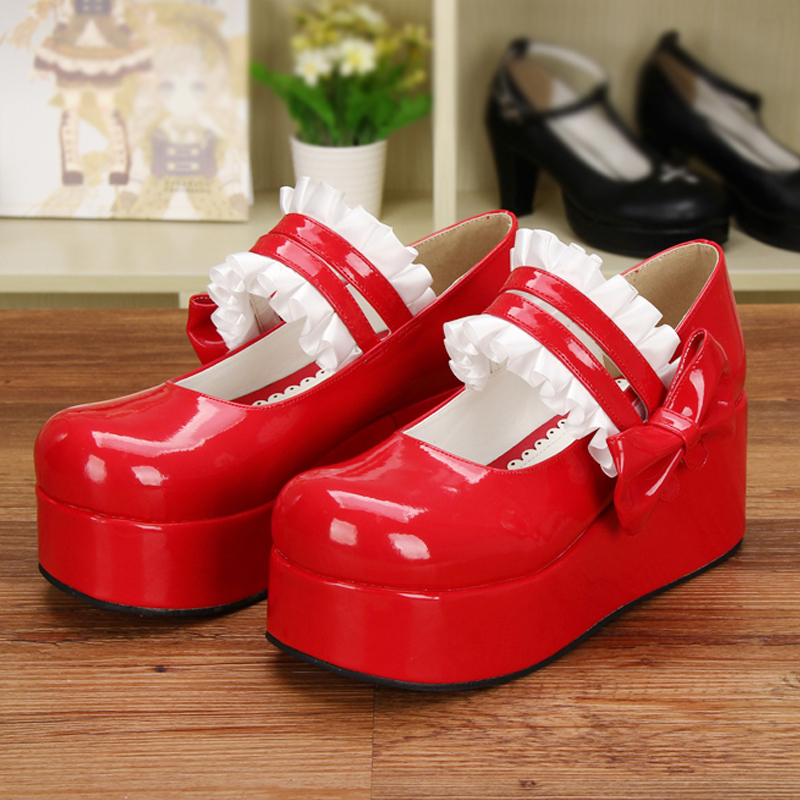Japanese Lolita Maid Cosplay Platform Heel Leather Shoes Sweet Lace Trim Bowtie Princess Girl Mary Jane Shoes