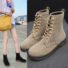 Liren 2019 Spring/Autumn Cow Suede Women Boots Lace-up Round Toe Ankle Lady Comfortable Boots Mesh Flat Heels Fashion Shoes liren 2019 spring autumn fashion casual women boots lace up round toe flat heels ankle flat med high heels comfortable boots