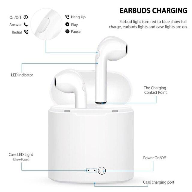 i7s tws Wireless Headphones Bluetooth 5.0 Earphones sport Earbuds Headset With Mic Charging box Headphones For all smartphones 4