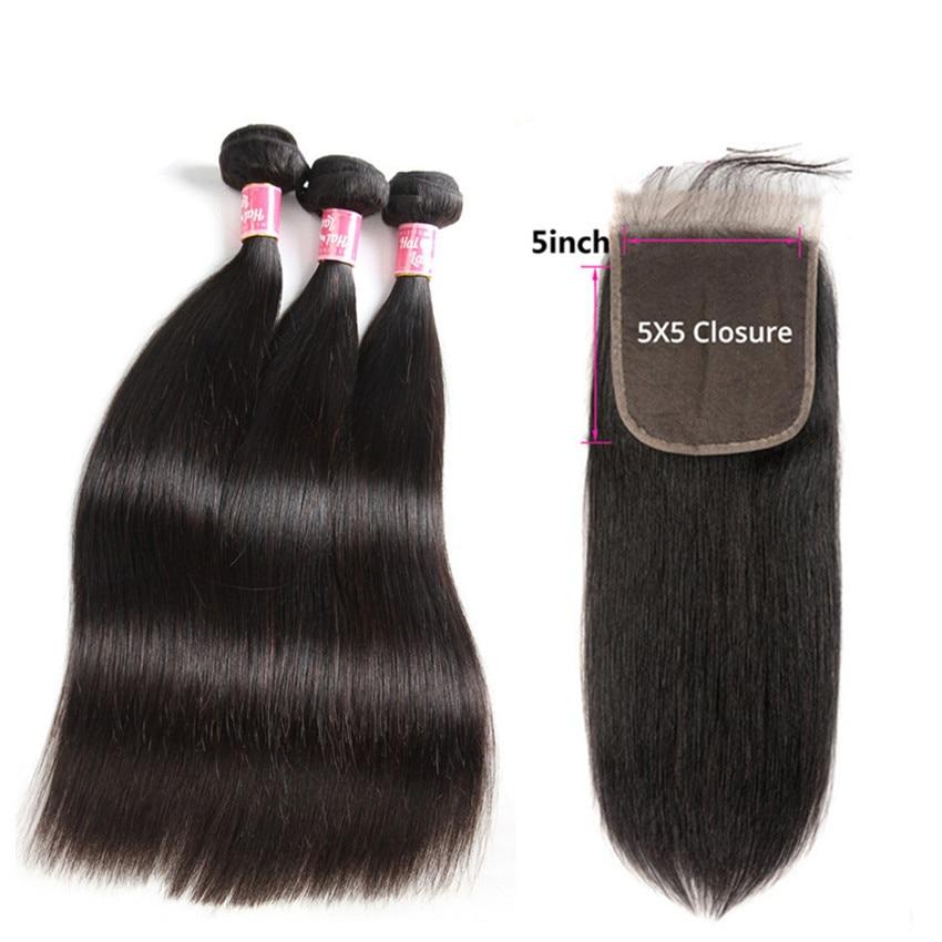 Brazilian Straight Hair Bundles With 5X5 Lace Closure Human Hair Weaves With Closure 3 Bundles With Closure Alipearl Non Remy