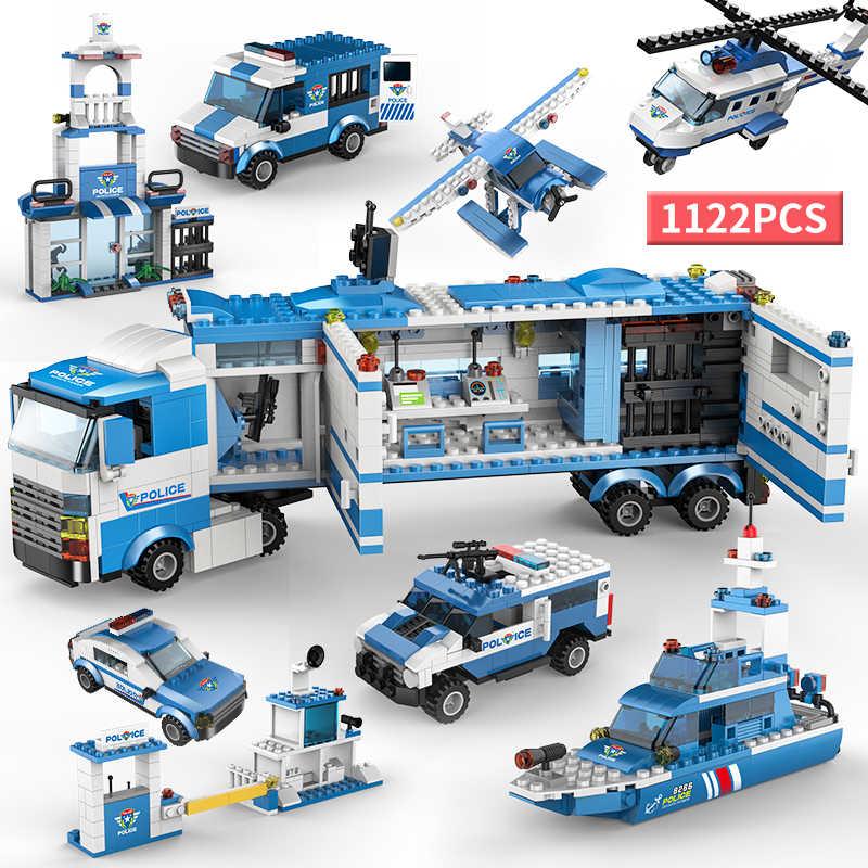 1122 Uds., arma militar de policía de ciudad, equipo SWAT, camión de bloques de construcción, soldados, vehículo, bloques técnicos, juguetes educativos para niños