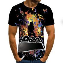 Men's short sleeve T-shirt, 3D guitar print, metal, gothic, anime, 2021