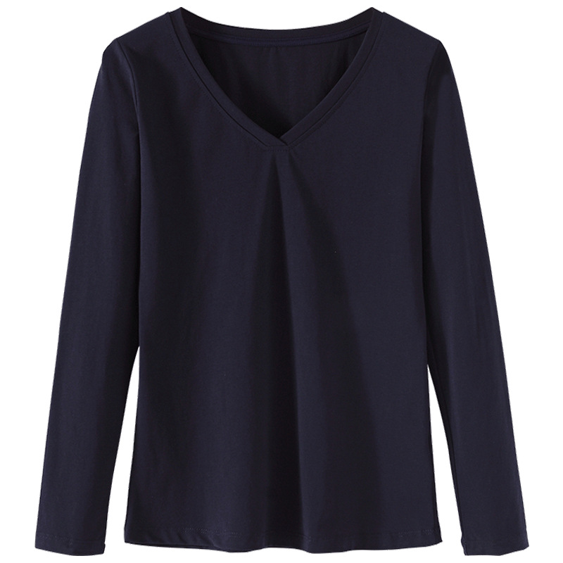 2020 WOMEN Long-sleeved Women's T-shirt V-neck Cotton Wild Large Size Women's Korean Version Was Thin Shirt Tops Solid