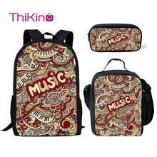 Thikin Rock Music Pattern 3Pcs/Set Children Fashion School Bag for Boys Backpack Teen Girls Kids Book Bags