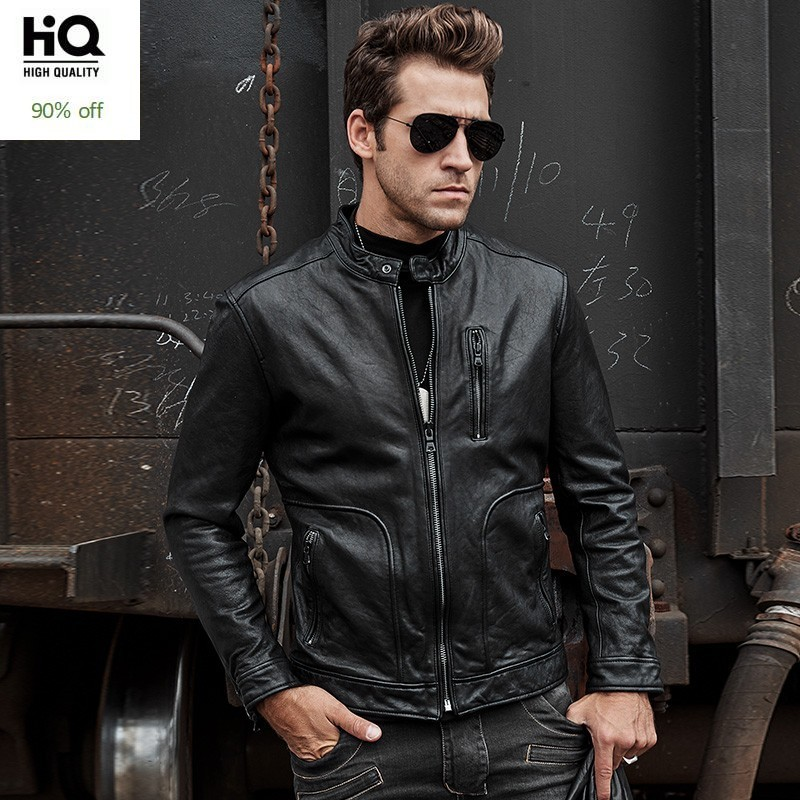 Retro Style Classic Fashion HQ Genuine Motorcycle Leather Jacket in Grey For Men