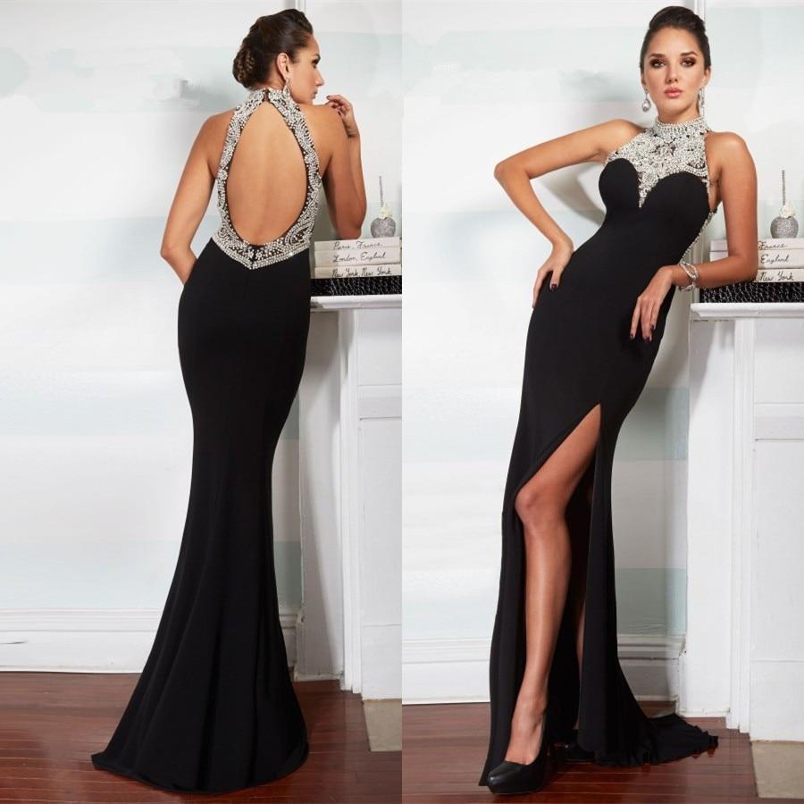 Black Chiffon Mermaid Backless 2018 High Neck Beads Pivot Party Prom Gown Vestido De Noiva Robe De Soiree Bridesmaid Dresses