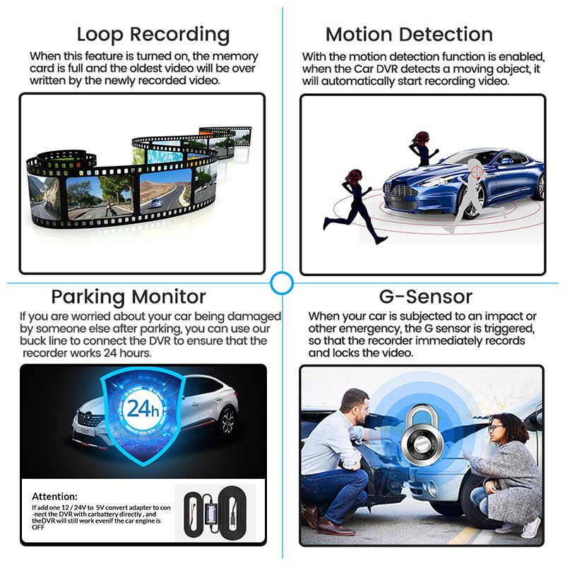 E-ACE DVR Xe Ô Tô Tráng Gương Siêu Nhỏ FHD 1080P Dash Camera 4.3 Inch Dvrs Với Camera Chiếu Hậu Đầu Ghi Hình Máy Quay Tự Động Cơ Quan Đăng Ký dashcam