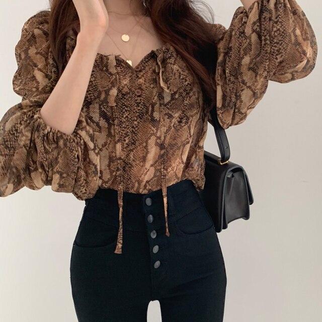 woherb sexy crop blouse Women Puff Sleeve snake print Elegant Lace Up summer thin blusas shirt 2021 korean Chic Female Shirts 4