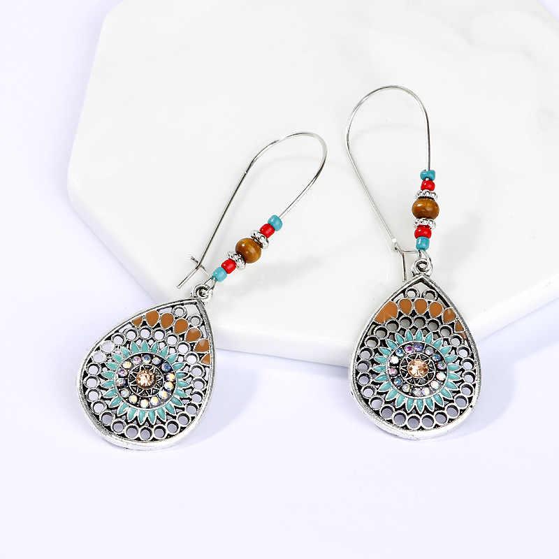 BoHo Kualitas Tinggi 2020 Baru Pernikahan Pesta Perhiasan Aksesoris Drop Anting-Anting 1 Pasang Air Drop India Etnis Berongga keluar