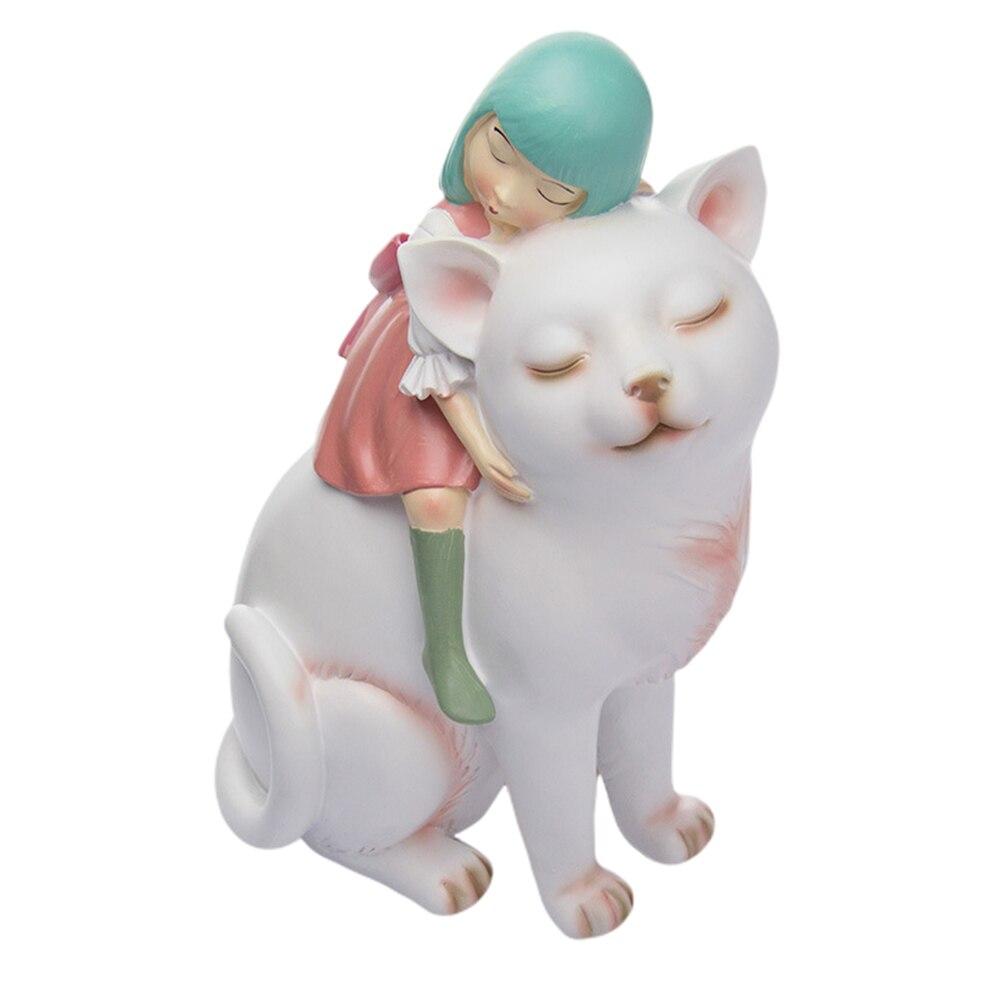 1Pc résine artisanat drôle Unique créatif délicat fille équitation chat modèle ménage salon décoration parure