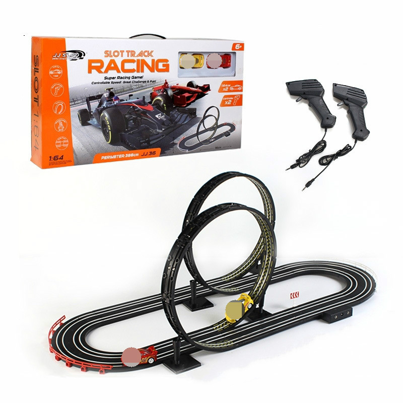 1:64 Electric Track Toy Car Mobilization Track Shaoguan Big Adventure 360 Rotating Double Competition Remote Control Track Toy.