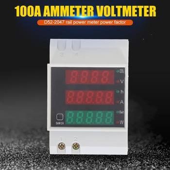 D52-2047 LED Display Din Rail Watt Meter Ammeter Voltmeter Volt Amp Active Power Factor Time Energy Voltage Current Monitor 1