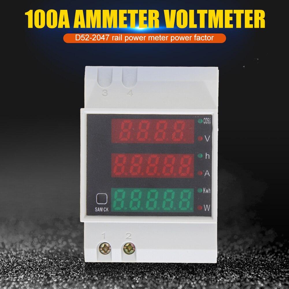 D52-2047 светодиодный Дисплей Din рейка Вт амперметр вольтметр Вольт Ампер активный Мощность фактор время энергии Напряжение ток мониторы