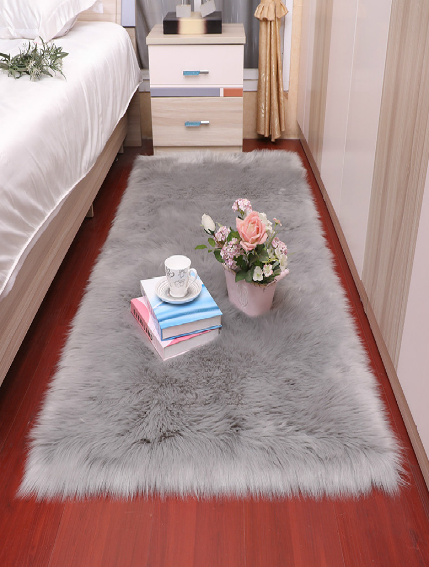 Sholisa Faux Fur Rug Fluffy Area Carpet  Rectangle Belt Shape 6cm Pile Fluffy Carpet For  Living Room Bedroom Sea Set Home Deco
