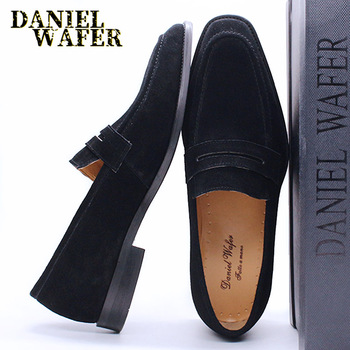 LUXURY MEN'S LOAFERS SUEDE LEATHER SLIP ON BROWN BLACK PENNY LOAFERS MEN SUMMER DRESS 2020 SHOES WEDDING OFFICE MEN CASUAL SHOES loubuten loafers men slip on suede leather shoes mens loafers with bow knot luxury dress shoes fashion men s smoking flats